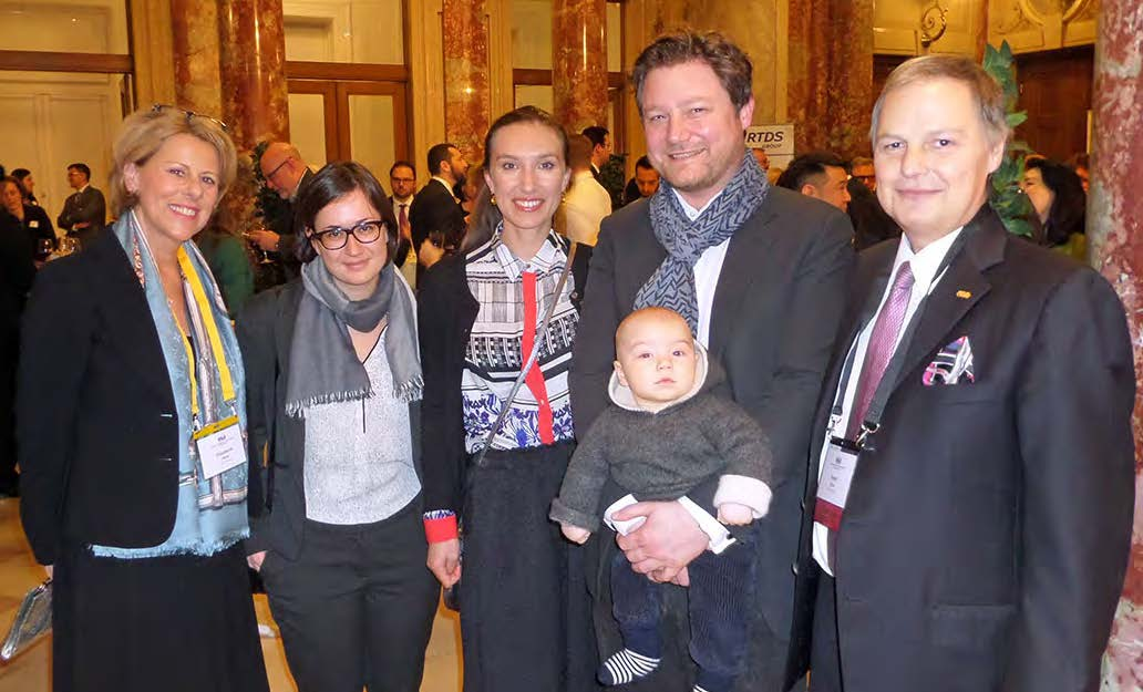 Introducing baby Oskar Müller-Stoy, a future LESI leader, at the meeting in Vienna. From left, Elisabeth Hess, Valerie Eder, Géraldine Müller-Stoy, Tilman Müller-Stoy and Peter Hess.