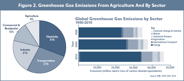 Figure 2. Greenhouse Gas Emissions From Agriculture And By Sector