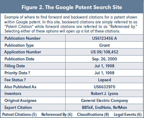 Figure 2. The Google Patent Search Site